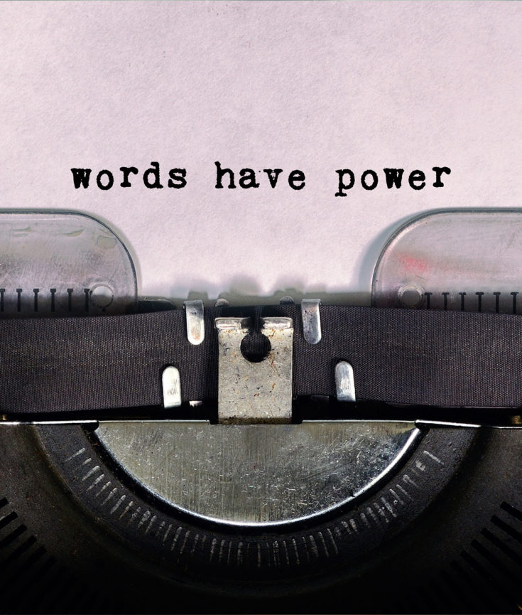 Photo of typewriter that typed Words Have Power